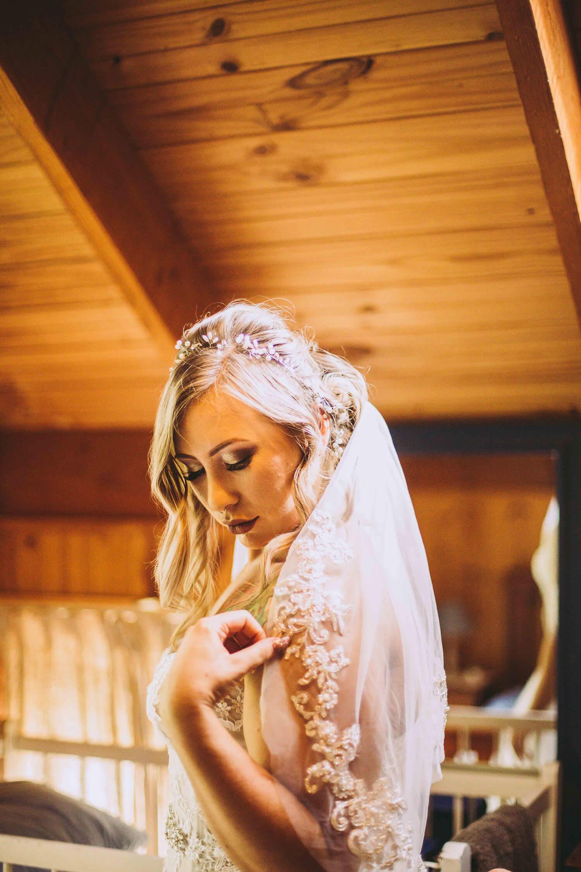 Bride getting dresssed