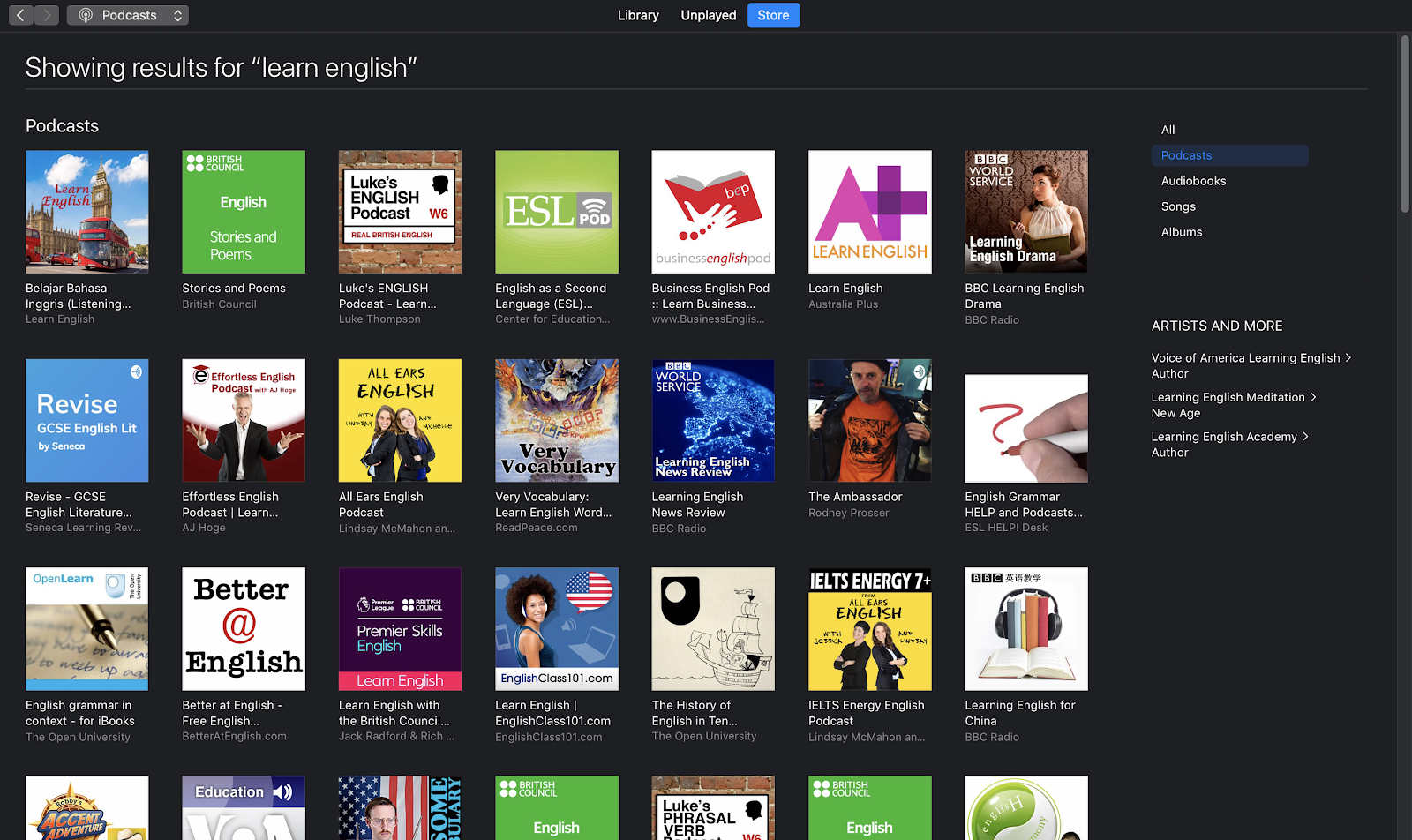 Aprende podcasts en inglés en iTunes
