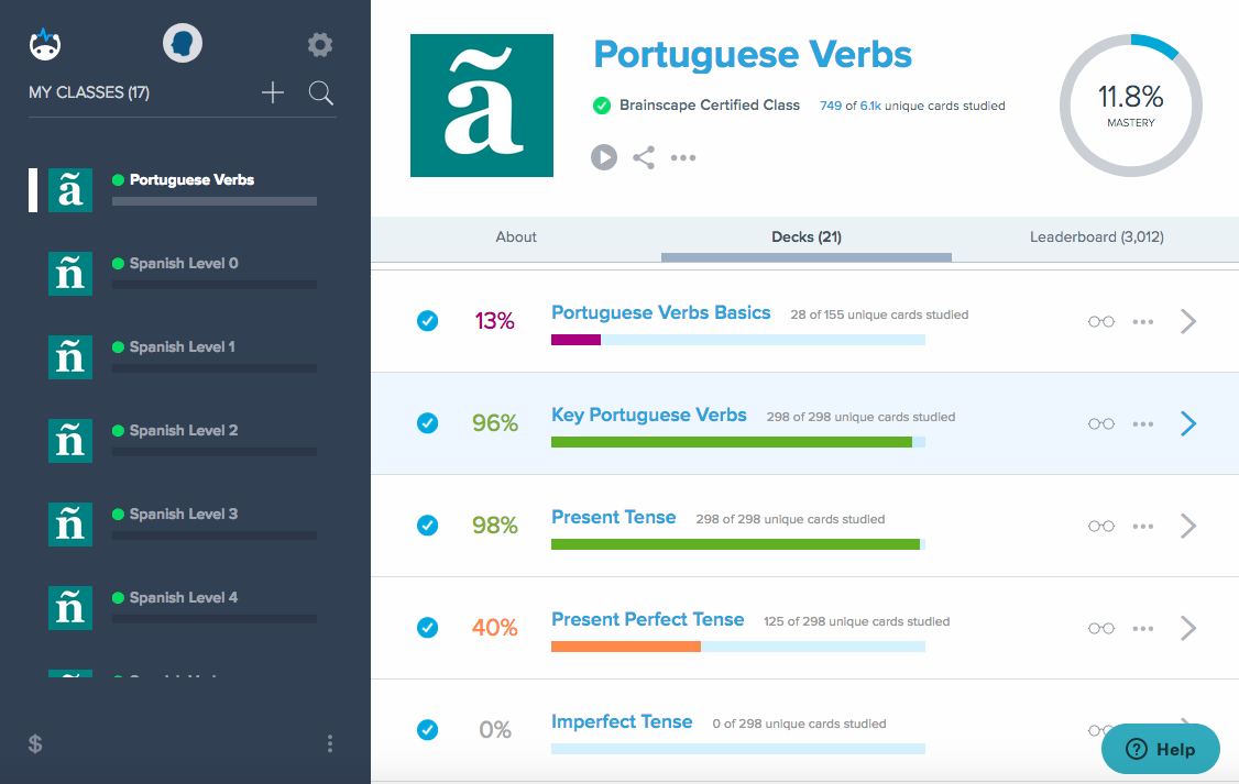 Brainscape is a tool to measure your English progress