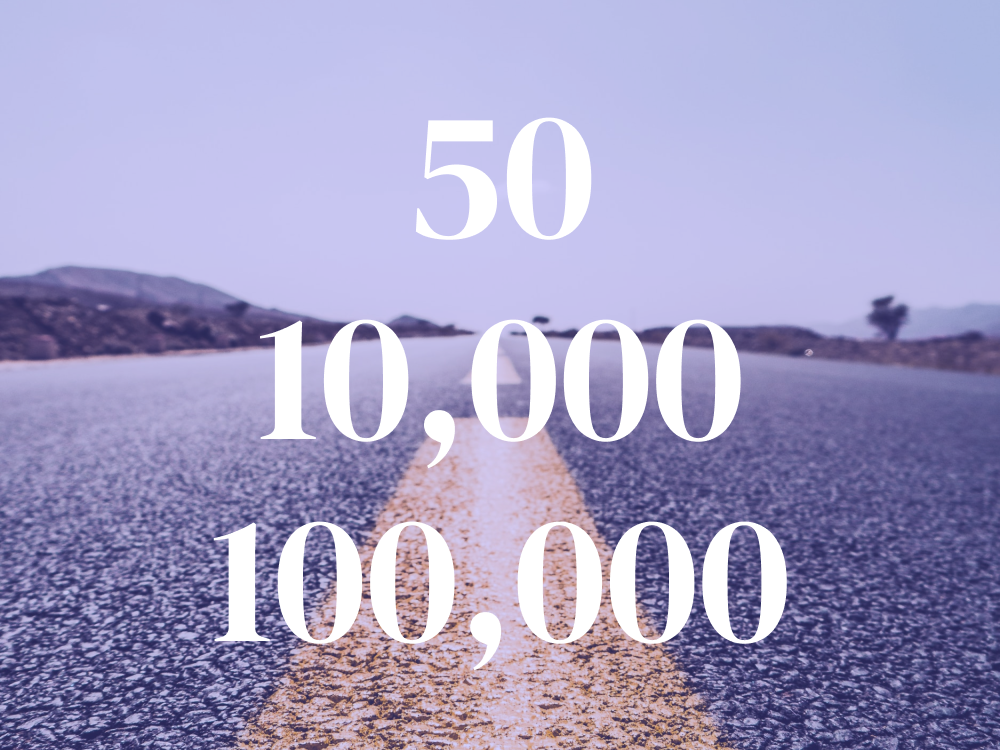 50, 10,000, 100,000 - Three Big Milestones