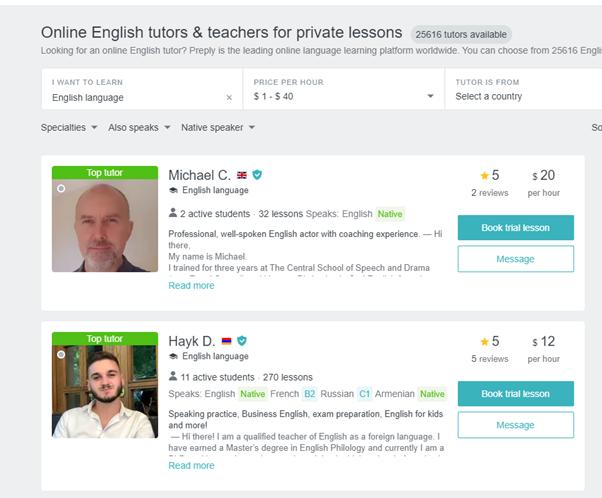 Preply English teachers