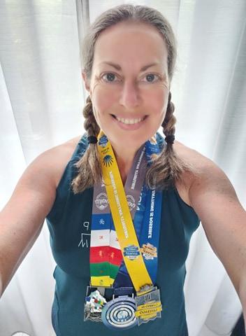 Catherine after completing her first half marathon