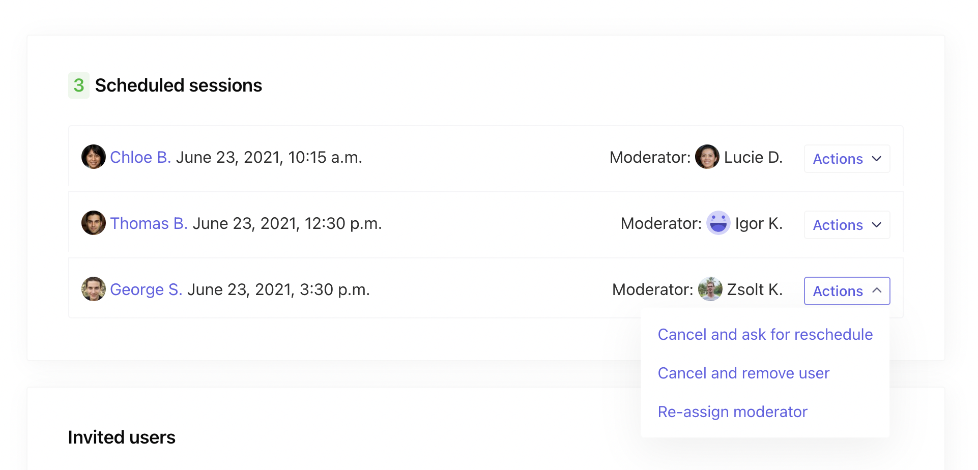 Assign moderators to sessions individually