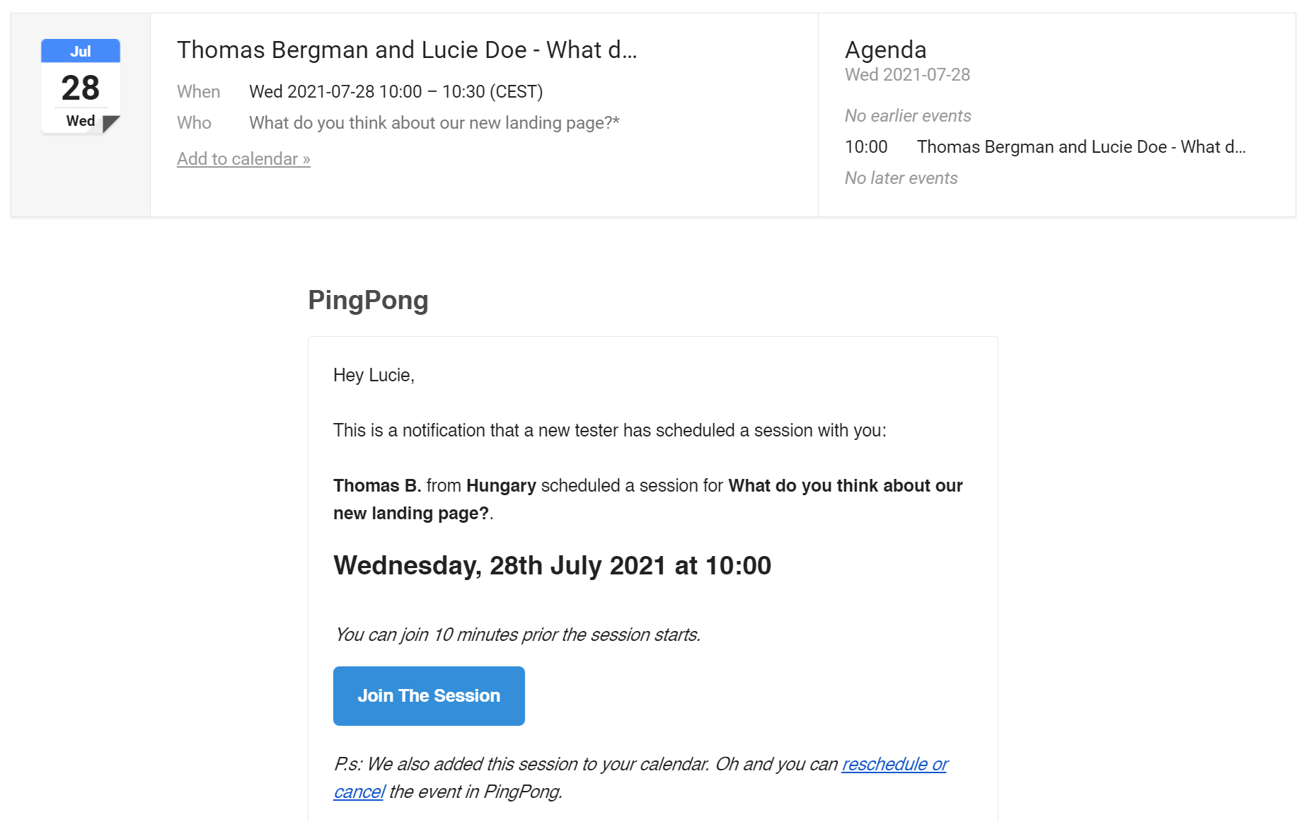 Calendar event invitations included with session confirmation emails