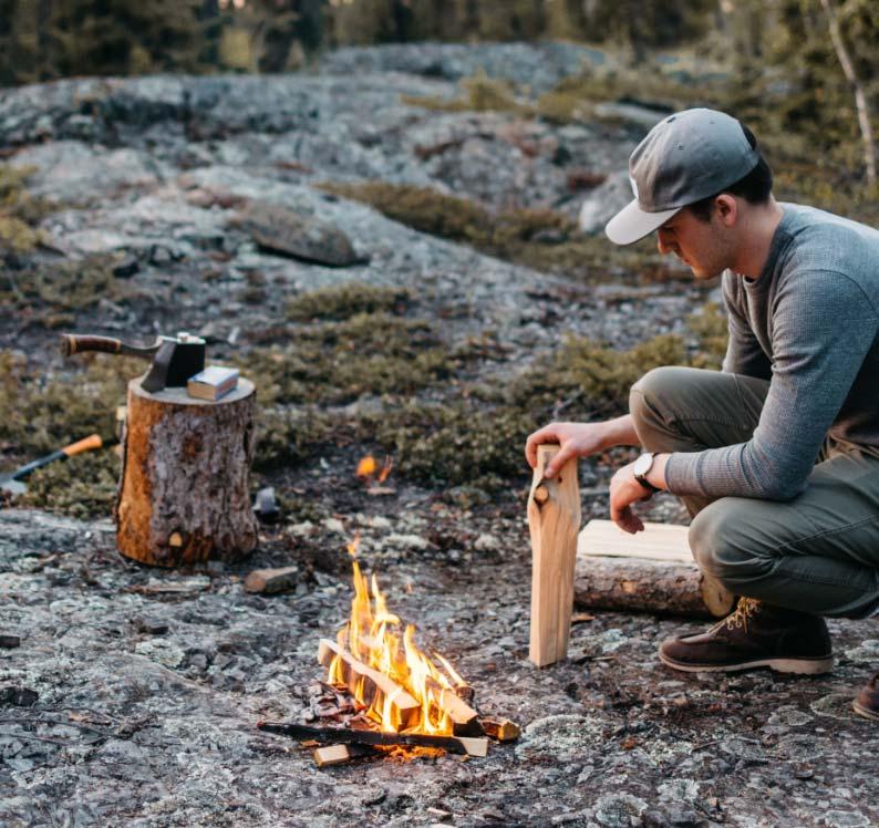 Man building fire