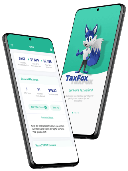 TaxFox Tax Refund App screens x 2 - splash and WFH summary