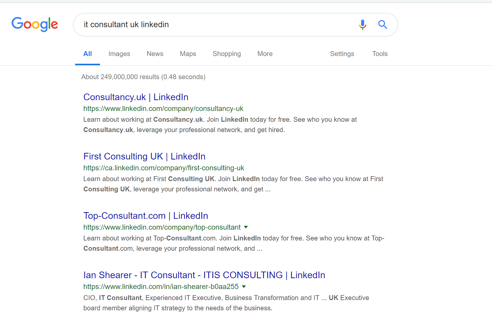 Google Search for IT Consultant UK LinkedIn