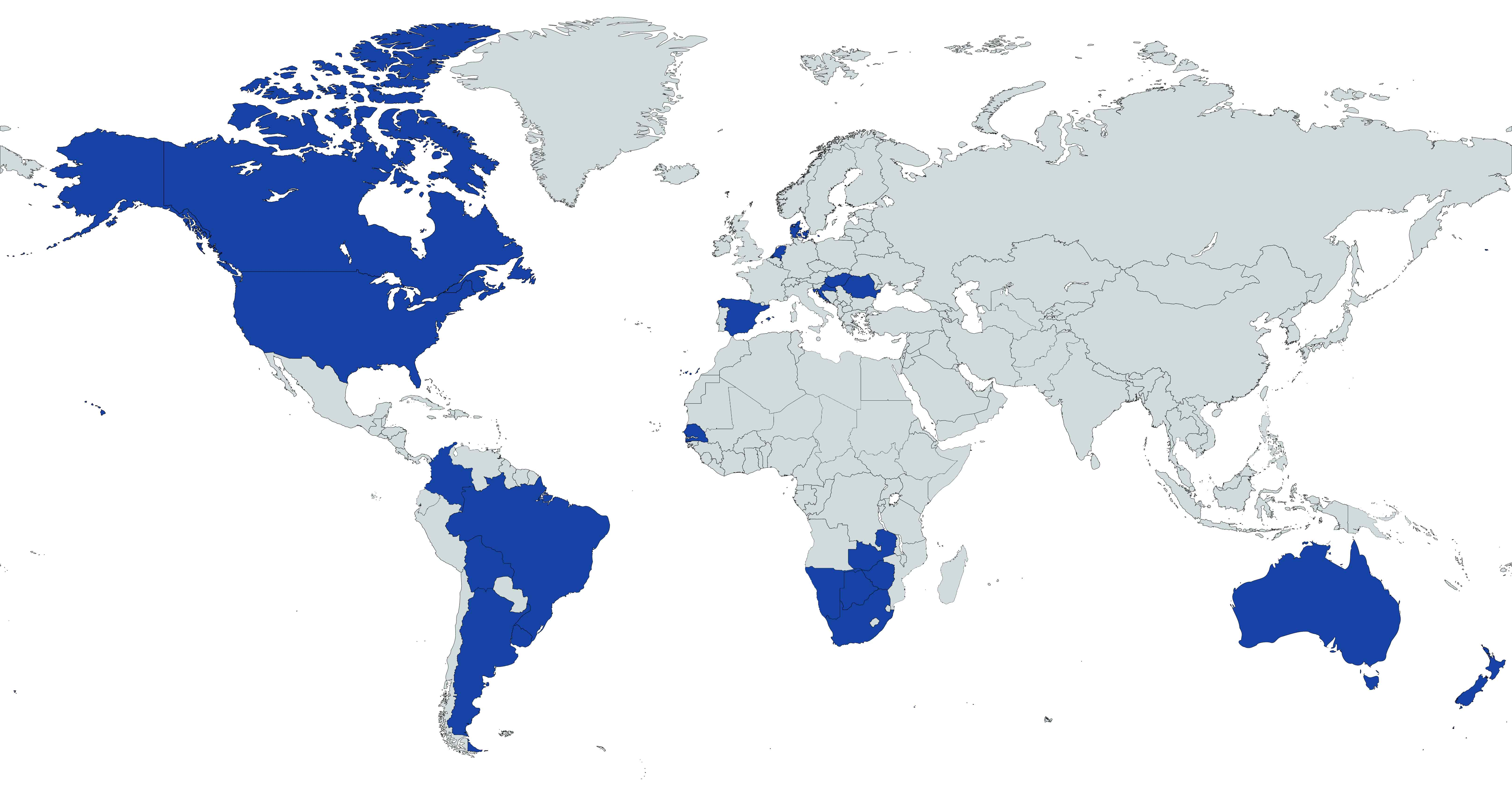 Countries with moovement GPS tags present - world map