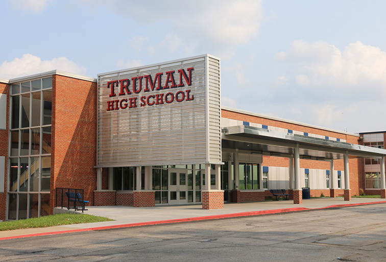 The outside of Truman High School in Independence, Missouri showing Blackburn Orthodontics loves the community.