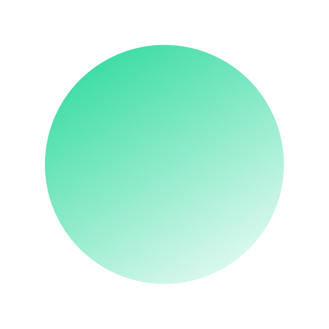 A large green gradient circle.