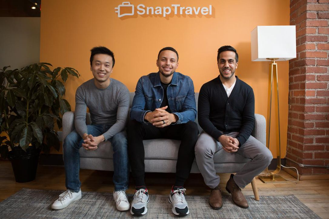 The Star featuring from left to right: Henry Shi (Snaptravel Co-Founder), Stephen Curry (Snaptravel Investor), and Hussein Fazal (Snaptravel Co-Founder).