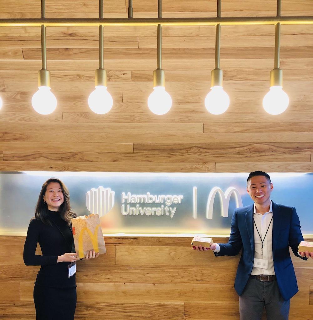Co-Founders, Helen Yin and Victor Li at Hamburger University for Burger Hack 2019