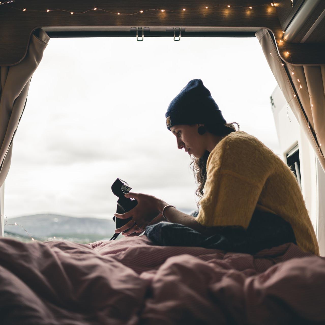 Mojo Campers woman in campervan