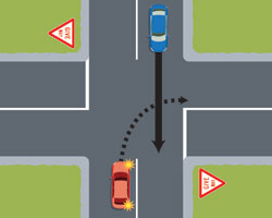 A red car is waiting while indicating to turn right, giving way to the blue car going straight.