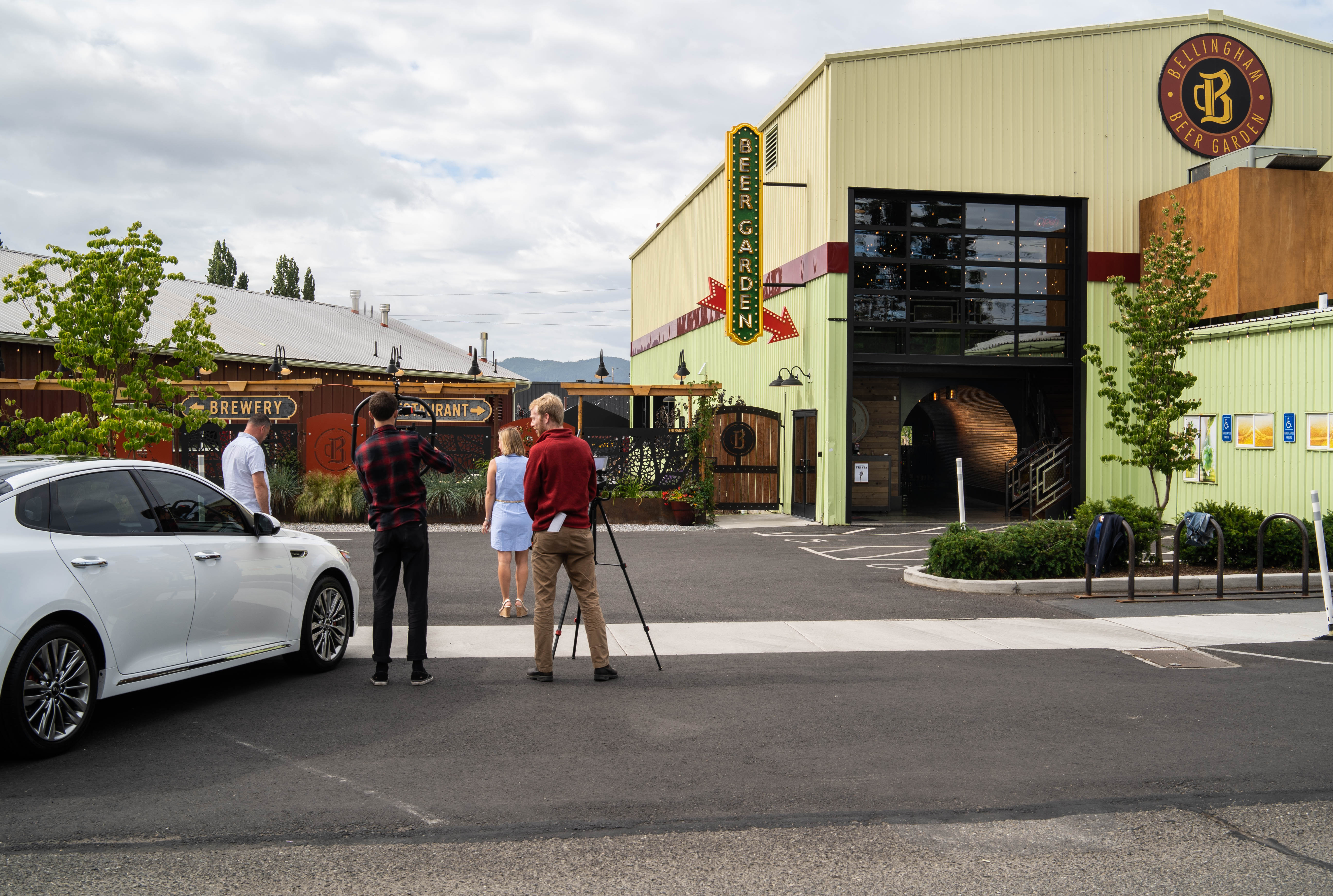 Car commercial being shot outside a brewery
