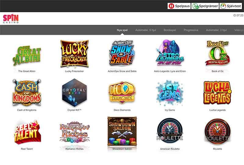 spin casino spelutbud