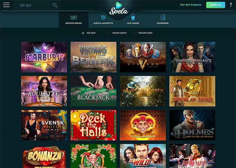 Spela.com Casino Spelutbud