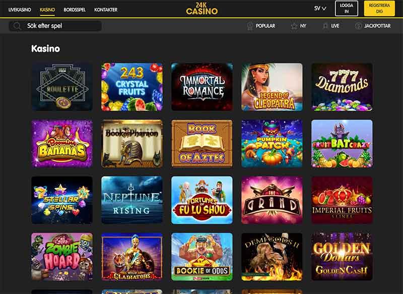 24k casino spelutbud