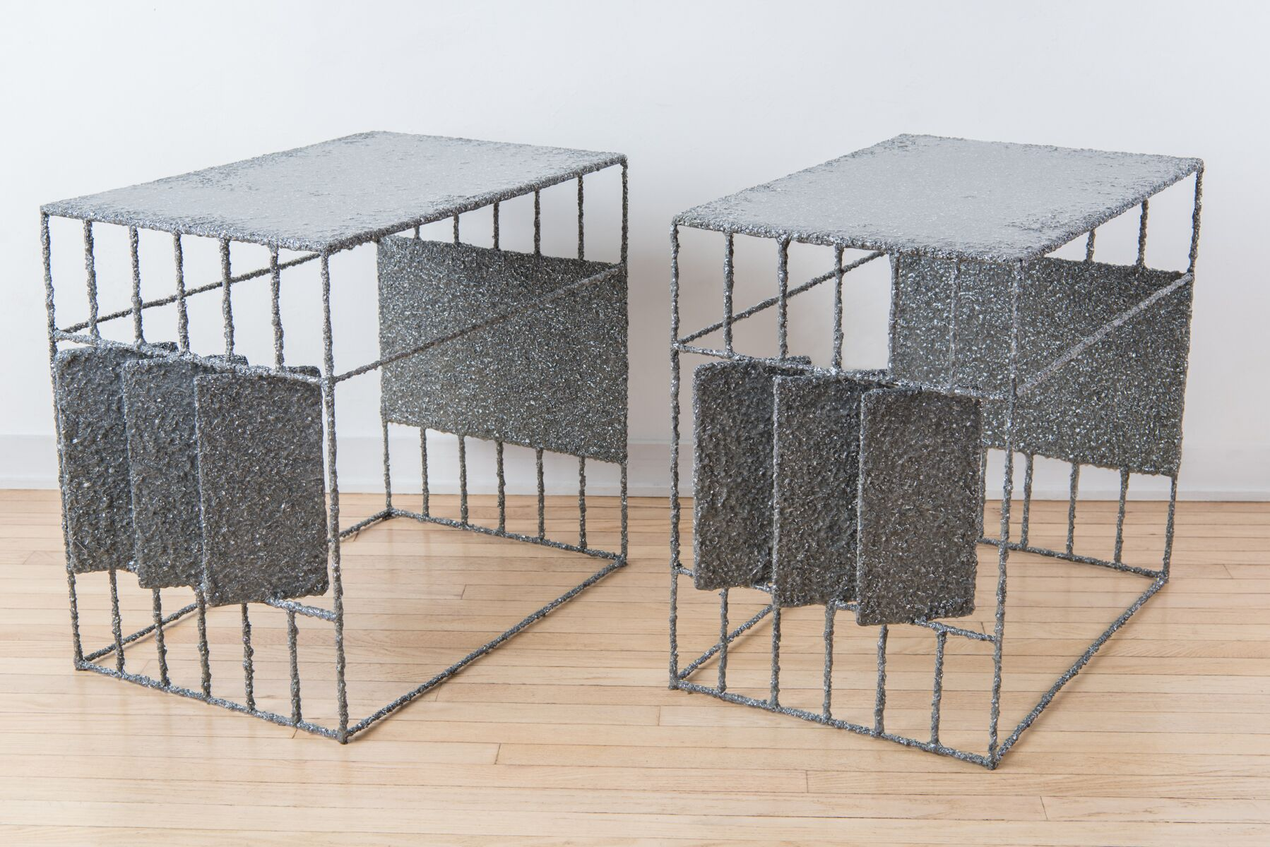 Samuel Amoia Side Tables made with aluminum shavings and resin coating for Dior Paris