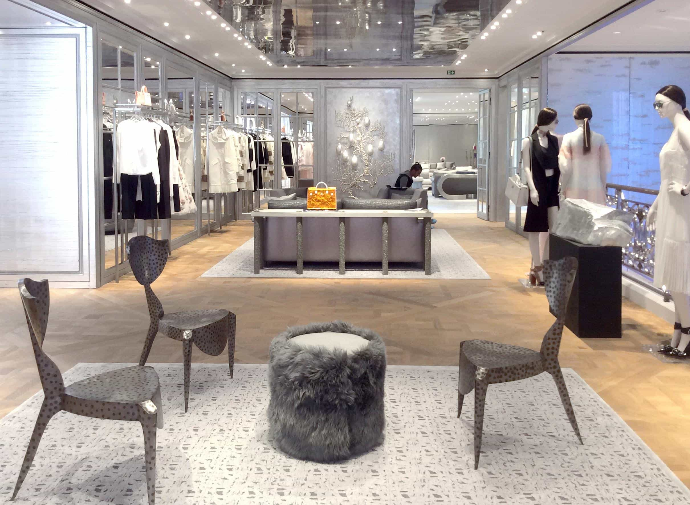Samuel Amoia Dior Bond St Natural Pyrite from Mexico mixed with poured Grey Cement Plaster