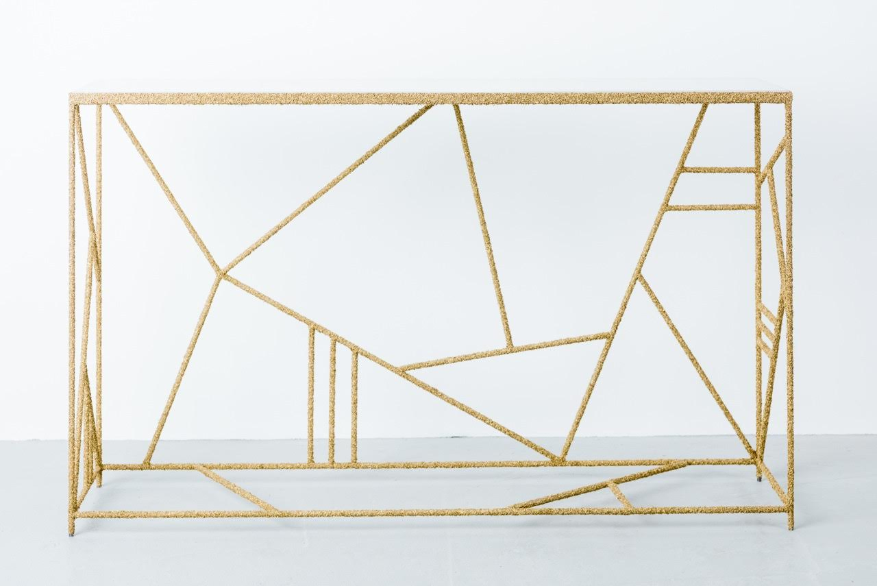 Shaved Brass and White Italian Onyx Console