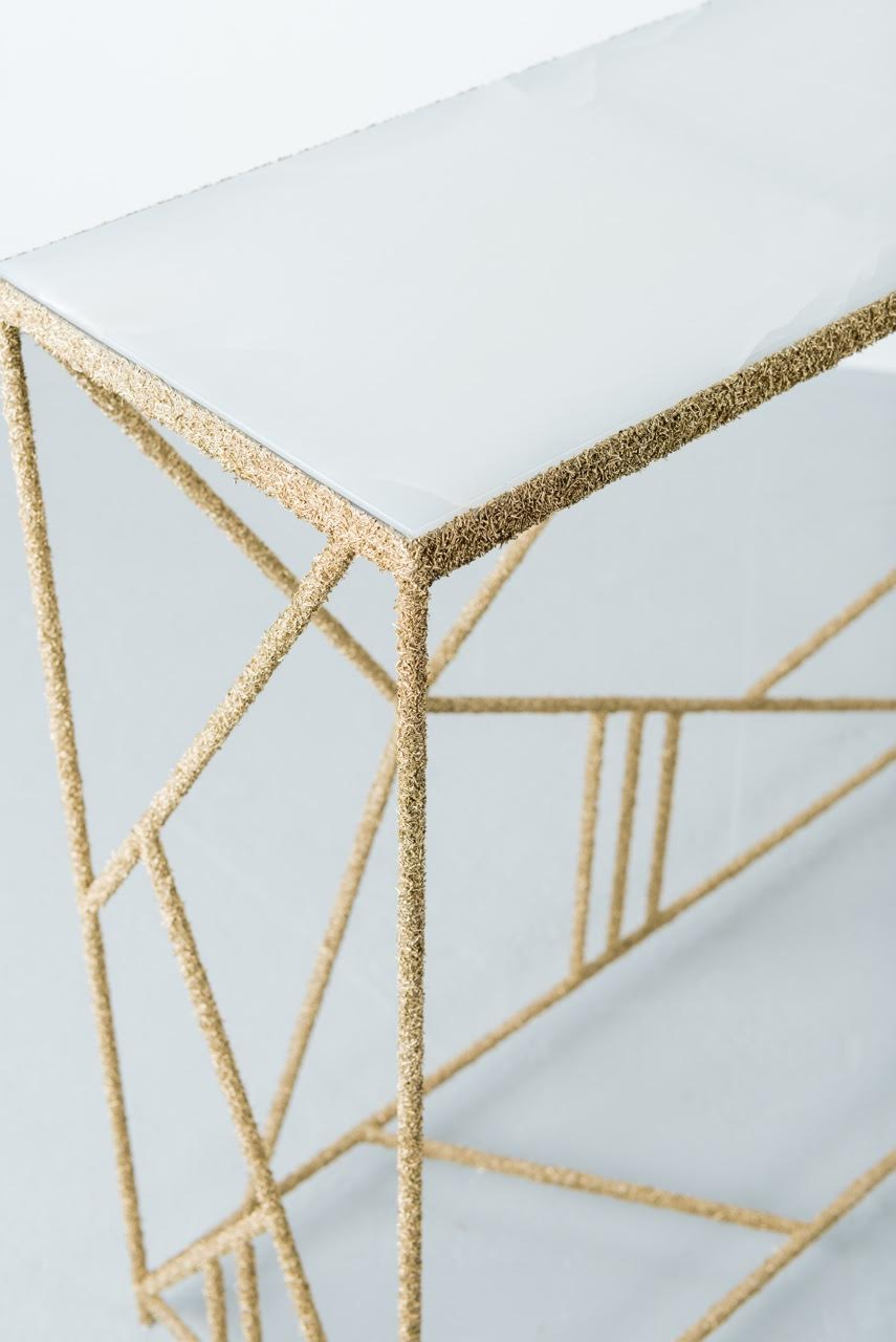 Samuel Amoia Furniture Shaved Brass and White Italian Onyx Console