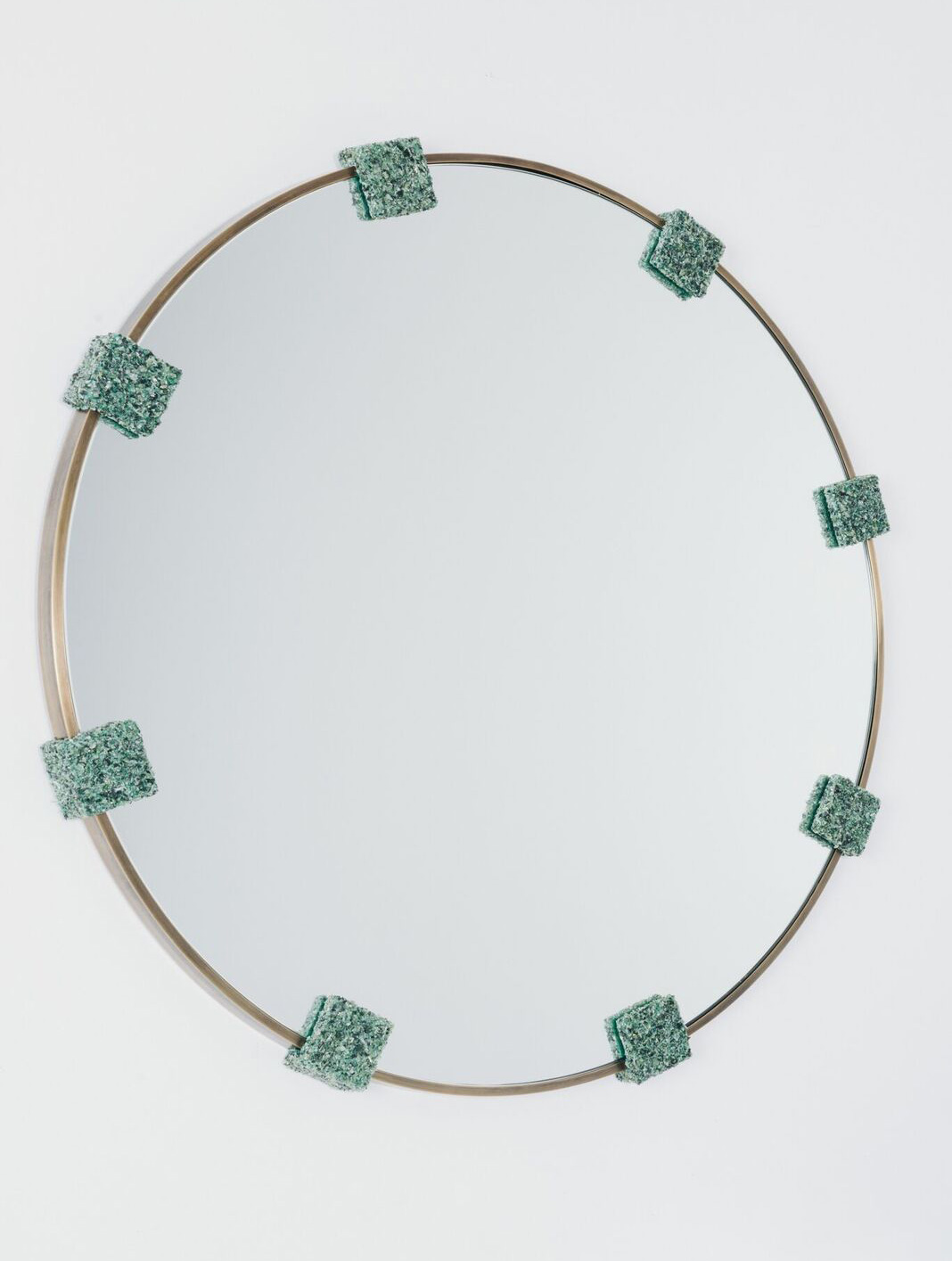 Samuel Amoia Mirror of Smoked Brass and Green Avertine