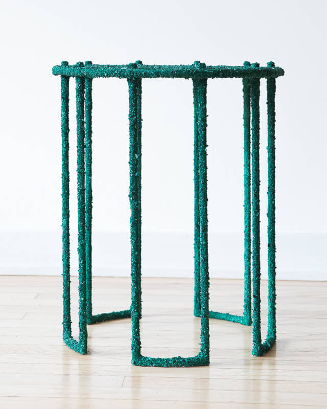 Samuel Amoia Side Table of Crushed Malachite