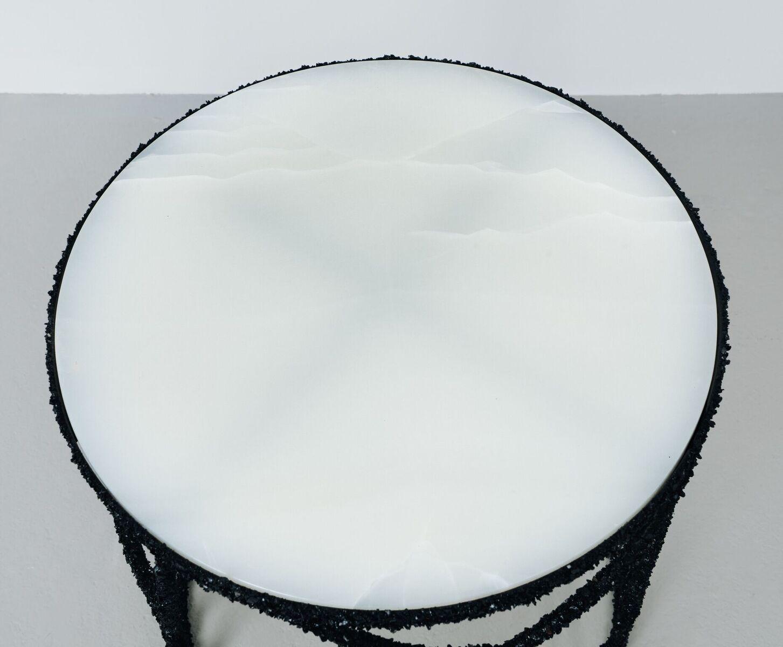 Samuel Amoia Side Table of Black Tourmaline and Onyx