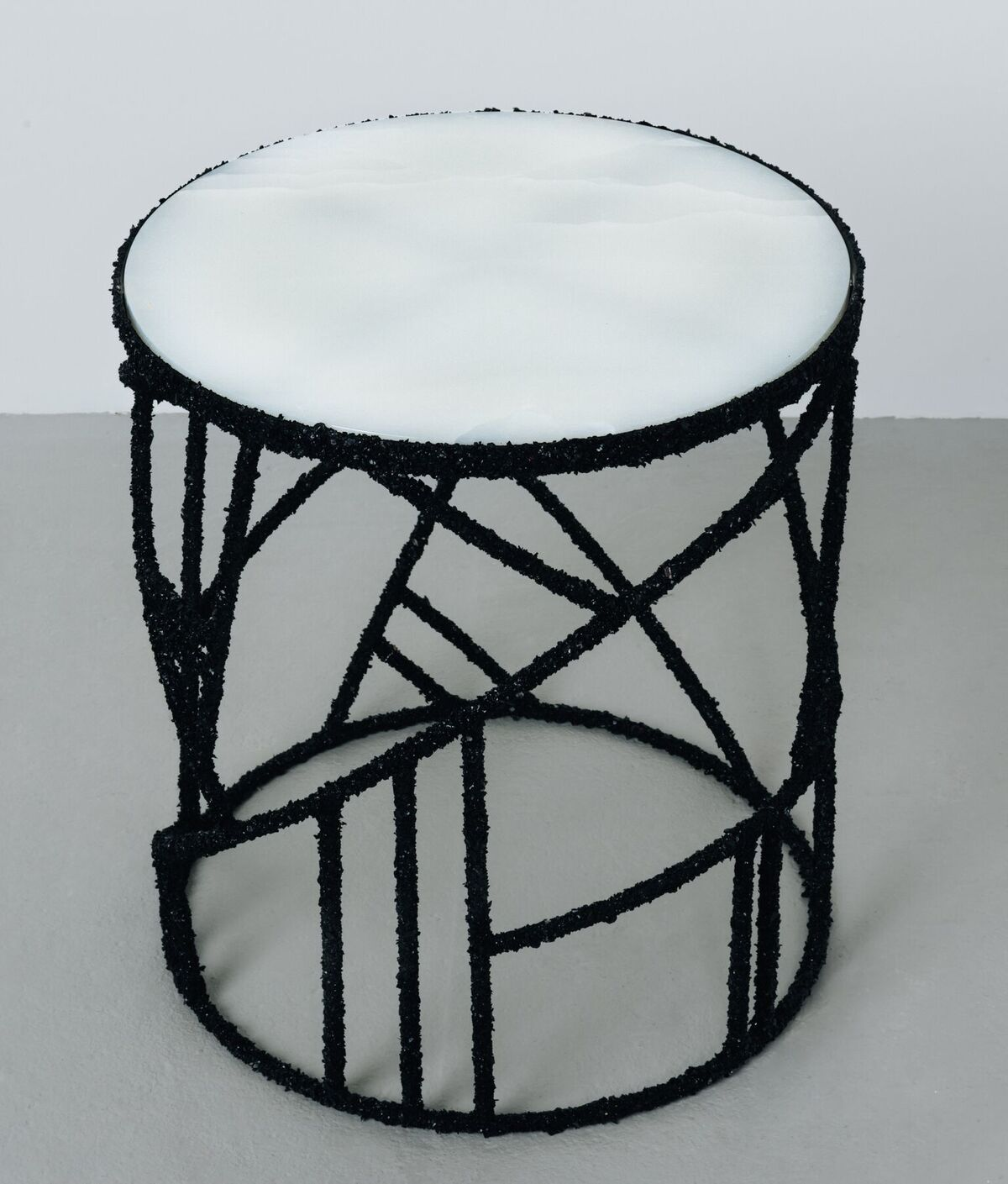 Samuel Amoia Side Table of Black Tourmaline and Onyx