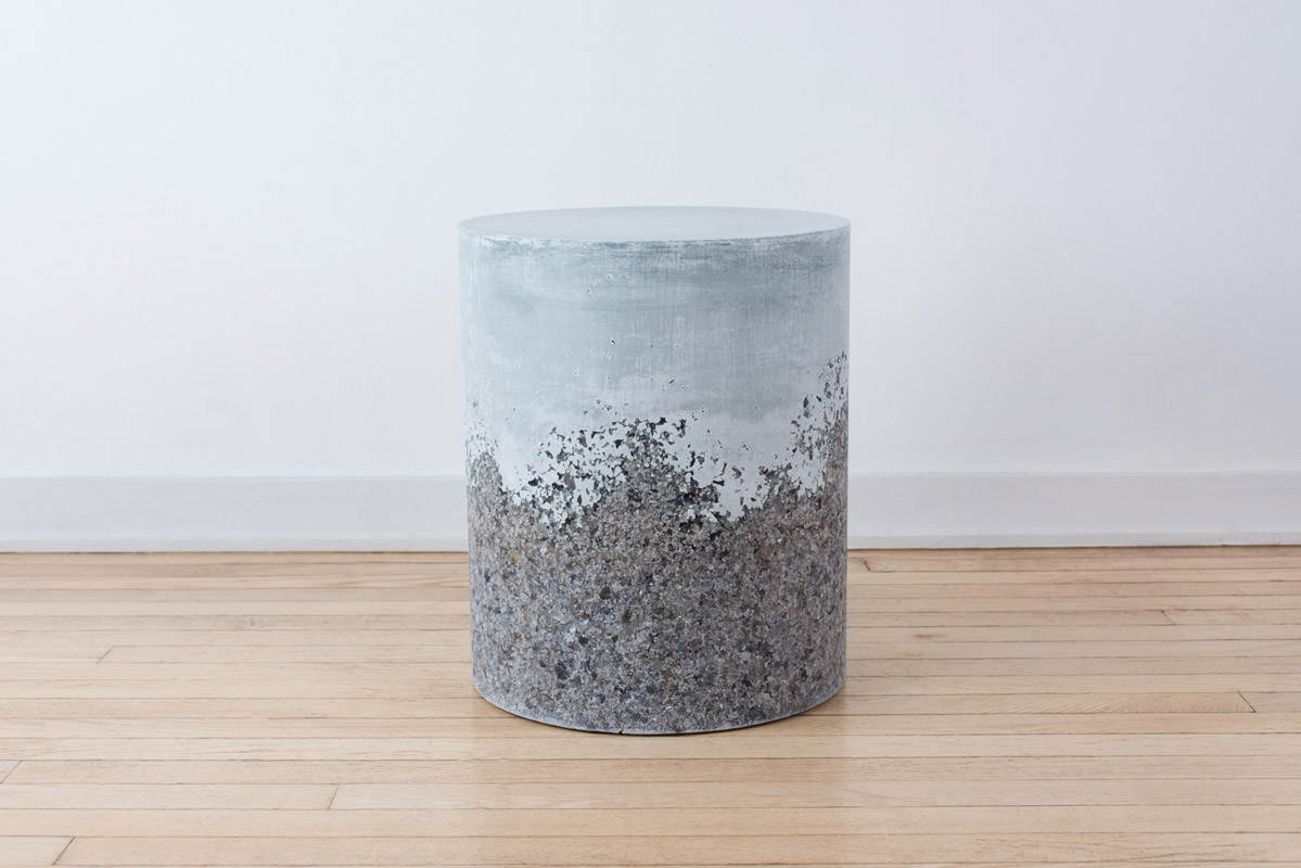 Samuel Amoia Drum of Grey Agate and Blue Plaster