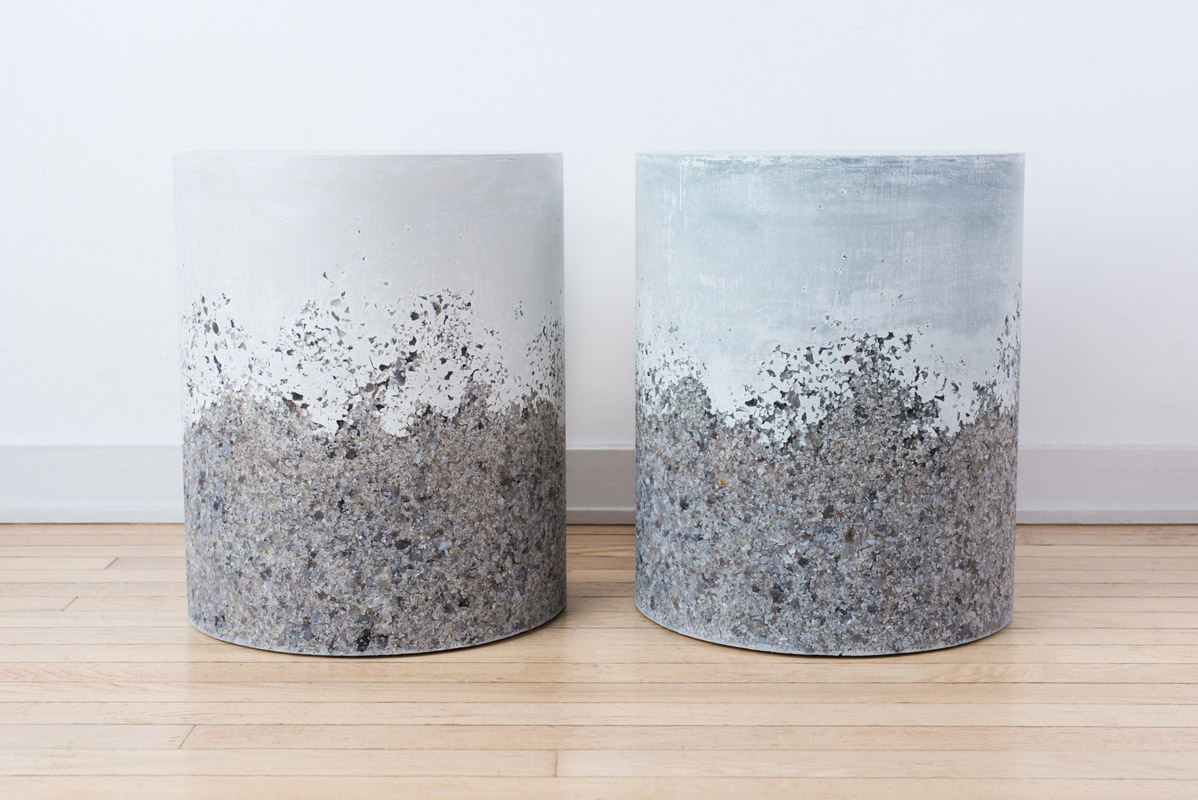 Samuel Amoia Drum of Grey Agate and White Plaster