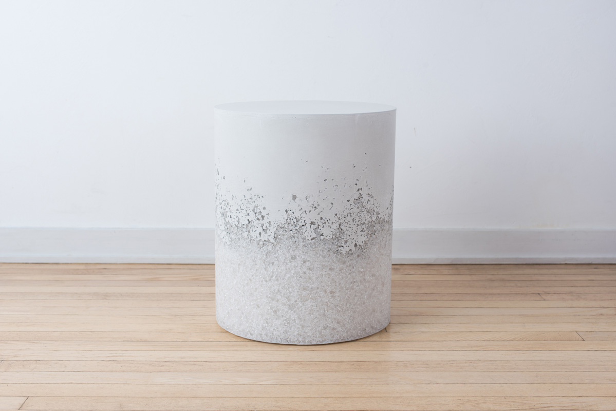 Samuel Amoia Drum of White Opal Stone and White Plaster