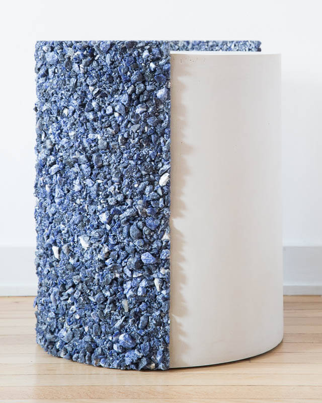 Samuel Amoia Shell Drum of Blue Sodalite and White Plaster