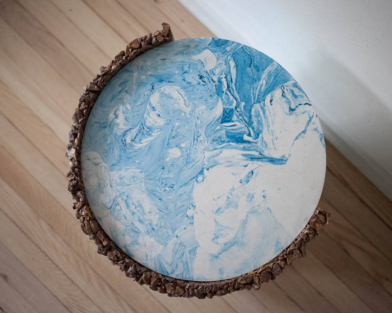 Samuel Amoia Shell Drum of Jasper, Marbled Blue and White Plaster