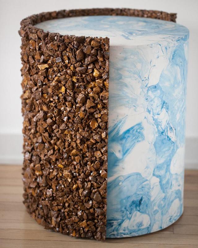 Shell Drum of Jasper, Marbled Blue and White Plaster