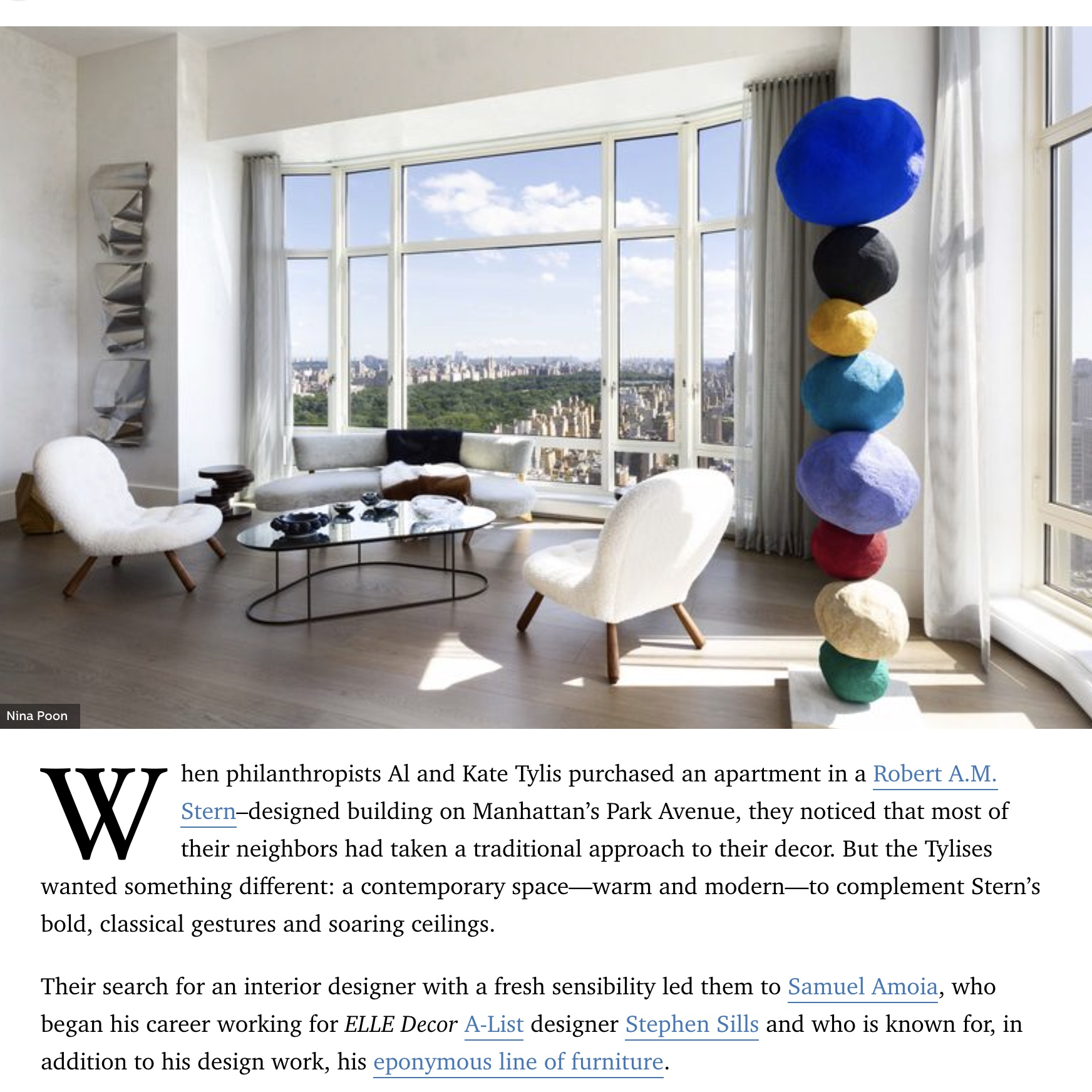 Samuel Amoia Interior design and home renovation Elle Magazine