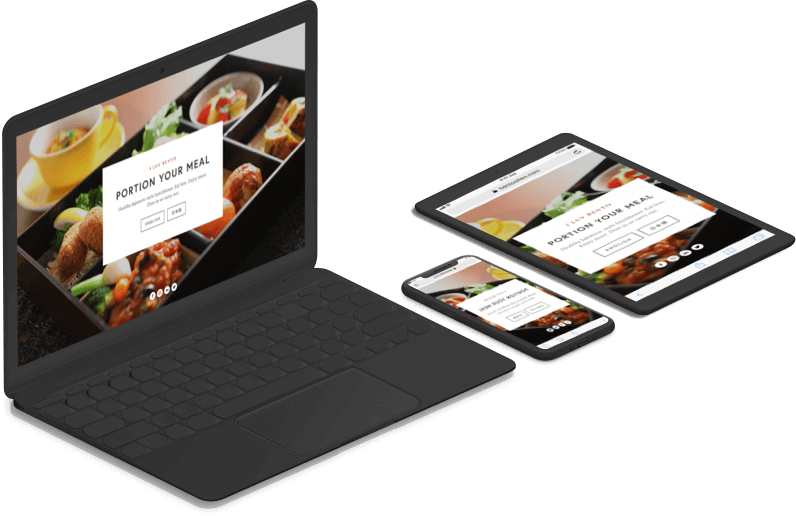 MacBook, iPhone and iPad devices – all loaded with the same sushi restaurant website