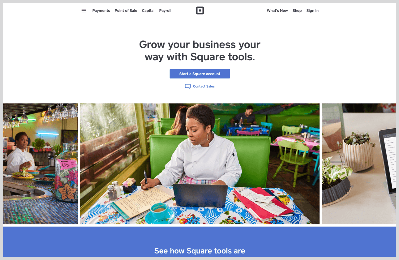 Square's homepage