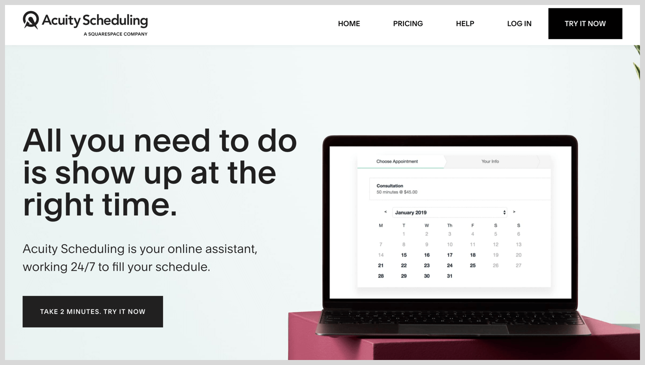Acuity Scheduling's homepage