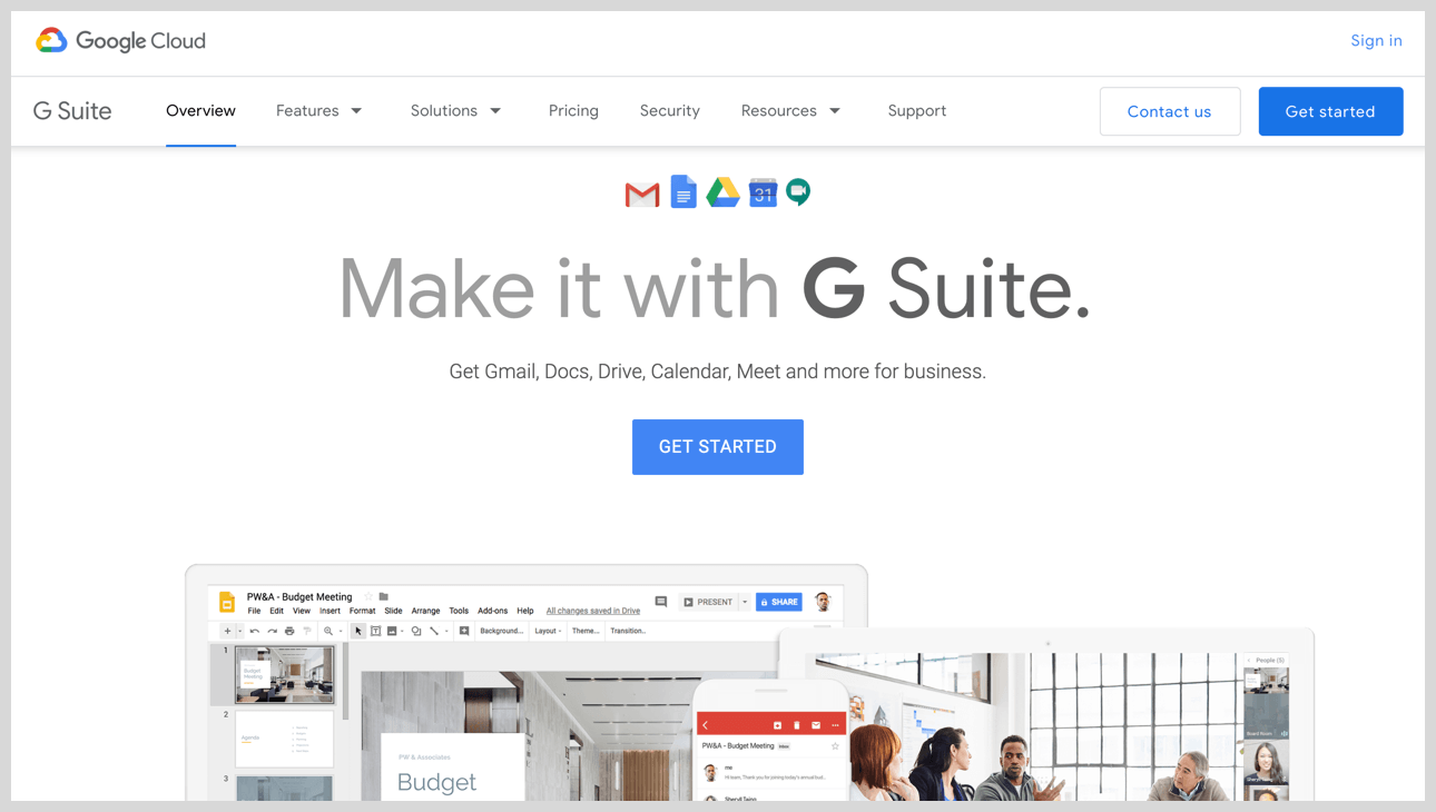 G Suite's homepage