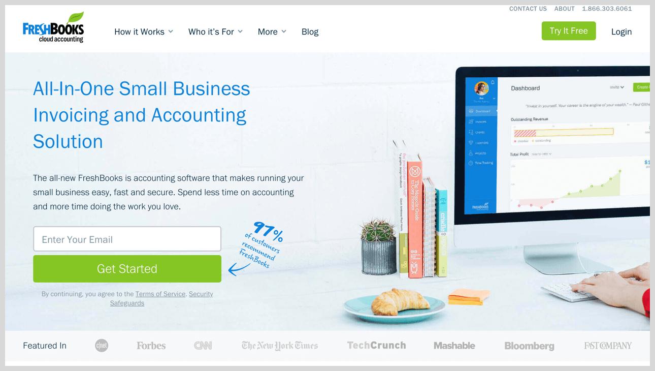 FreshBooks' homepage