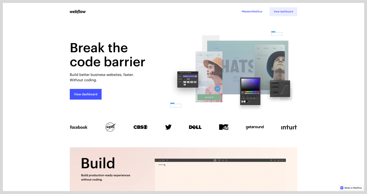 Webflow's homepage