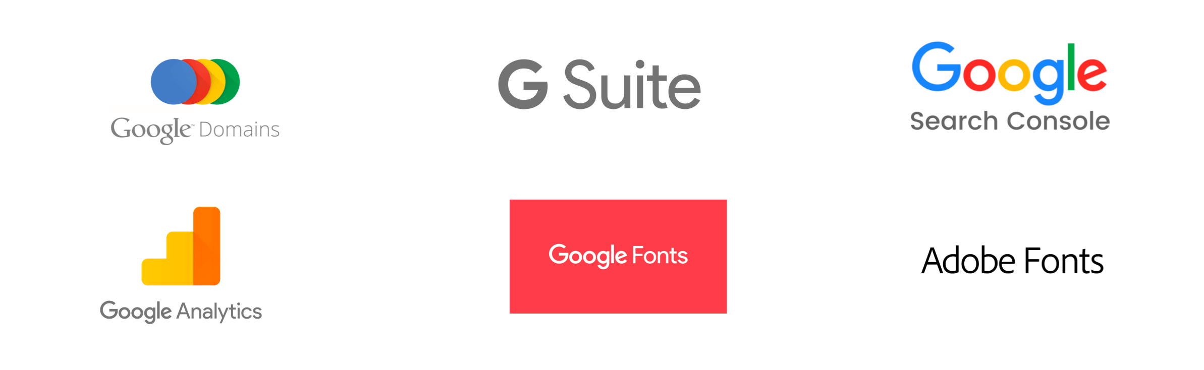 Six logos for website tools, including Google and Adobe
