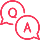 Two speech bubbles that are labeled with Q and A