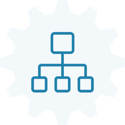 A flat architecture sitemap with a gear symbol in the background