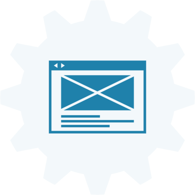 A wireframe with a gear symbol in the background