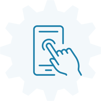 Index finger touching a mobile device with a gear symbol in the background