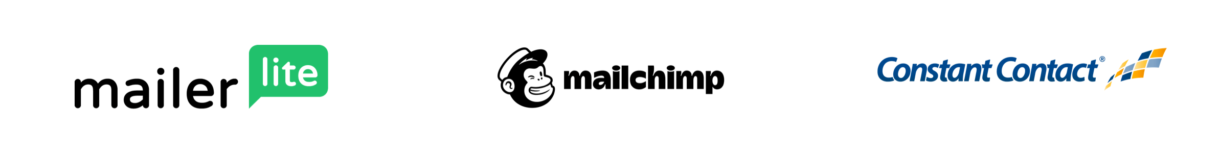 Three logos for email service providers, including MailerLite, MailChimp and Constant Contact