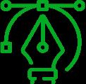 Icon: A designer's pen tool.